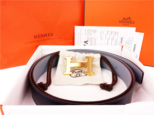 BRAND NEW Hermes Grey Black Reversible Belt Kit w/ Gold Buckle