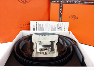 BRAND NEW Hermes Grey Blue Reversible Belt Kit w/ Silver Buckle