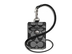 Sold Out BRAND NEW Coach Black Peyton Signature Lanyard ID Case F68661