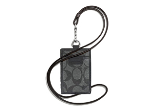SOLD OUT BRAND NEW Coach Charcoal Heritage Signature Lanyard ID Case F68664
