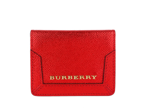 Burberry Red Patent London Leather Id Card Case