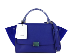 SOLD OUT BRAND NEW Celine Royal Blue Calf Skin Trapeze Bag