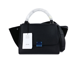 SOLD OUT BRAND NEW Celine Black Calf Skin Trapeze Bag