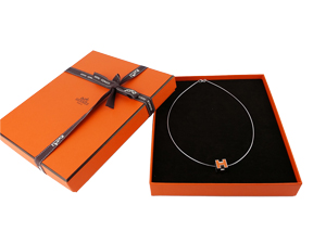 SOLD OUT BRAND NEW Hermes Orange Cube H Necklace Palladium
