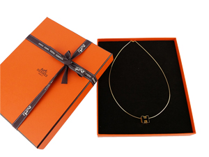 SOLD OUT BRAND NEW Hermes Black Cube H Necklace Gold Plated