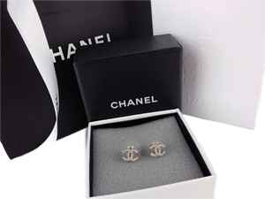SOLD OUT Chanel Crystals Silver CC Earrings - Small