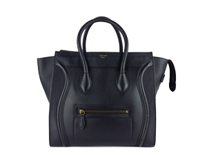 Celine Black Pebbled Leather Zip Mini Luggage