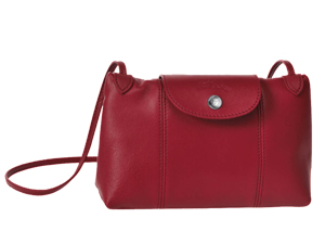 BRAND NEW Longchamp Le Pliage Red Cuir Crossbody Bag