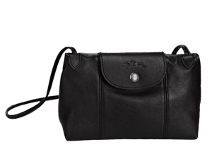 BRAND NEW Longchamp Le Pliage Black Cuir Crossbody Bag