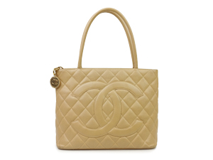 Chanel Beige Caviar Medallion Tote With Gold Hardware