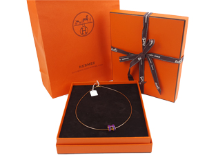 SOLD OUT BRAND NEW Hermes Pop H Necklace Purple With Silver Hardware