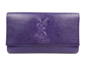 SOLD OUT YSL Yves Saint Laurent Purple Crackled Leather Belle de Jour Clutch