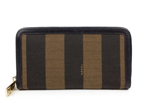 SOLD OUT Fendi Pequin Striped Zip Around Wallet