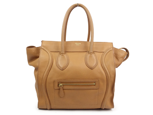Celine Camel Grain Leather Mini Luggage Shopper