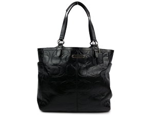 Coach Black Galley Embossed Patent Tote F19818