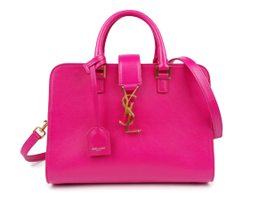 SOLD OUT YSL Yves Saint Laurent Small Cabas Bag In Lipstick Fuchsia Leather 372087