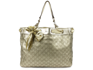 SOLD OUT Gucci Metalic Gold Guccissima Scarf Tote