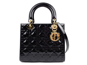 SOLD OUT Christian Dior Black Pattern Leather Lady Dior Two Way