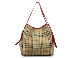 Burberry Haymarket Lour Grainy Red Leather Trim Large Tote