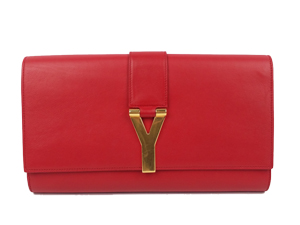 SOLD OUT YSL Yves Saint Laurent Red Leather Sac Ligne Y Clutch