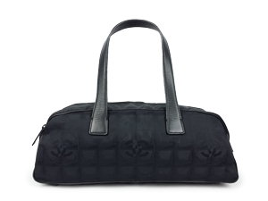 Chanel Black Travel Line CC Jacquard Nylon Vintage