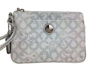 BRAND NEW Coach Waverly Coadted Canvas Wristlet Star / Silver