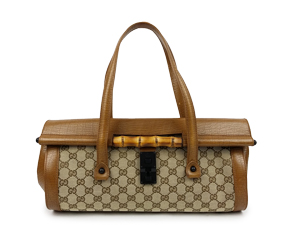 Gucci GG Canvas Bamboo Brown Leather Shoulder Bag