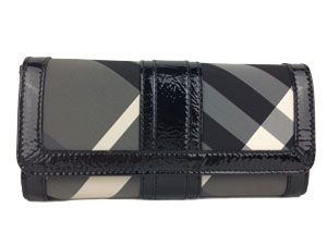 Brand New Burberry Nova Black Grey Long Wallet
