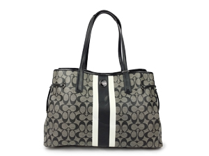 Coach Signature Stripe PVC Large Carryall Tote F23049