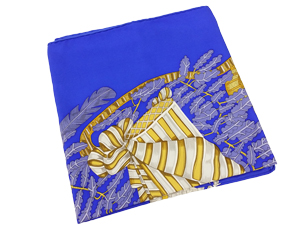 SOLD OUT Hermes Blue And Gold Silk Scarf Chapeau