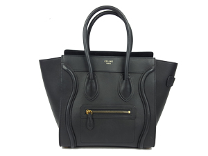 Celine Black Pebbled Leather Micro Luggage Tote