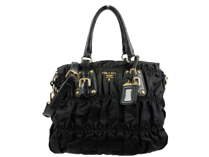 Prada Black Nylon Zip Gaufre