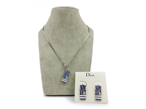Christian Dior Necklace/Earrings Pendant Logo Plate Blue/White Plated Trotter