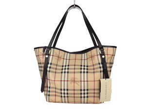 Brand New Burberry Haymarket Lour Grainy Brown Leather Trim Small Tote