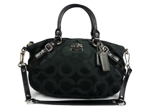 Coach Black Madison Op Art Sateen Sophia Satchel 17693