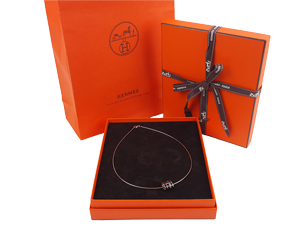 SOLD OUT BRAND NEW Hermes Pop H Necklace Black With Silver Hardware