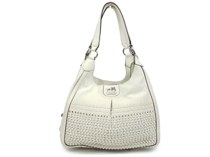 Coach White Madison Woven Maggie Leather Shoulder Bag 23385