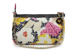 SOLD OUT Fendi Floral Print Zucchino Canvas Chain Baguette in Multicolor