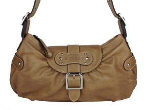 Longchamp Natural Full Leather Hobo Shoulder Bag