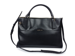 Coach Pebbled Leather Turnlock Borough Bag In Black