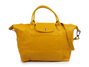 Longchamp Le Pliage Cuir Sling / Handle Yellow