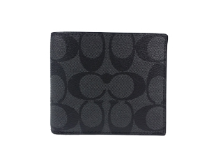 Coach Charcoal Black Signature Double Billfold Wallet