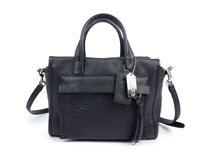 Coach Bleecker Mini Riley Carryall Black Leather Crossbody Bag 27923