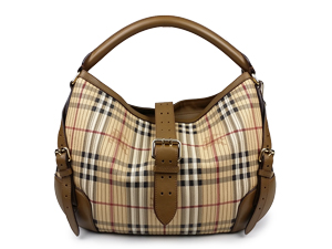 Burberry Stitched Haymarket Check Hobo Bag