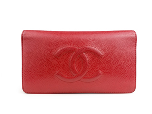 SOLD OUT Chanel Red Caviar Double Wallet