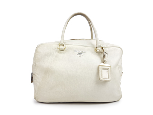 Prada White Leather Top Handle Bag