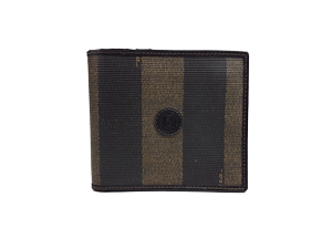 Fendi Tobacco Coated Canvas Pequin Bifold Wallet