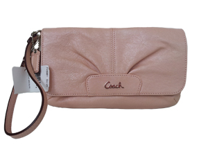 BRAND NEW Coach Pink Leather Large Flap Wristlet Silver Hardware