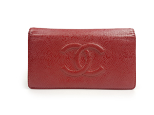 SOLD OUT Chanel Red Grained Calfskin Double Wallet