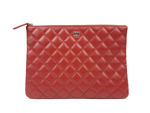 SOLD OUT Chanel Red Calf Leather Medium O Case
